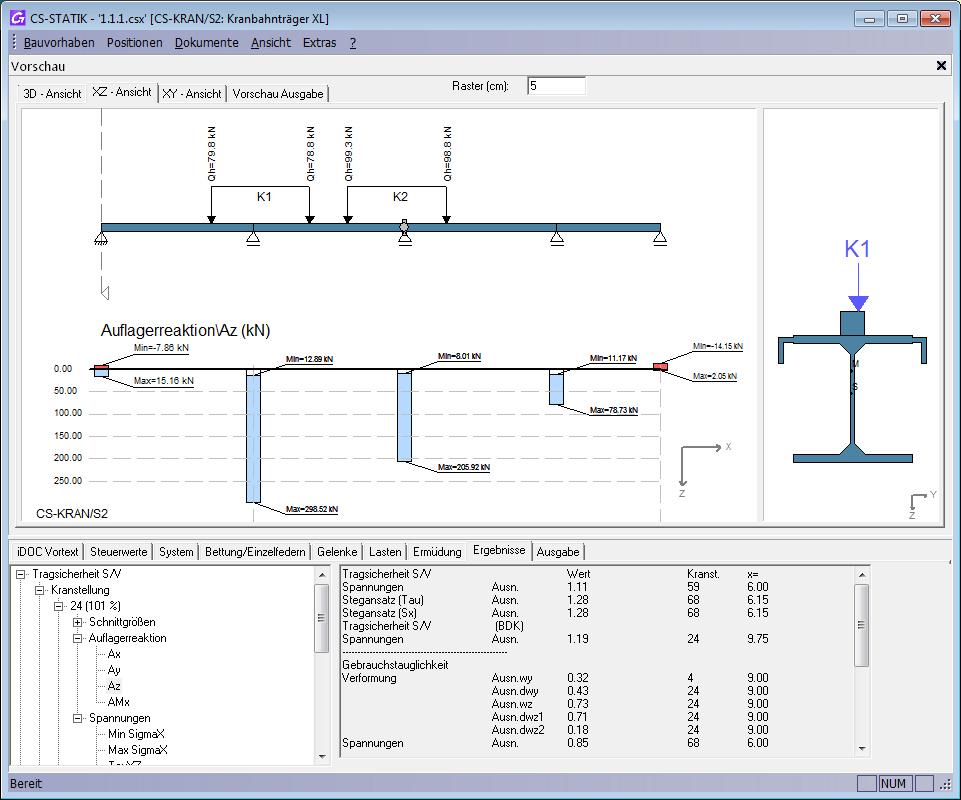 Kranbahntr ger nach eurocode effizient berechnen mit cs for Statik auflager berechnen